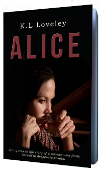Upcoming book release 2017 - Debut novel 'Alice' by K.L Loveley, female drinking alcohol on a black book cover