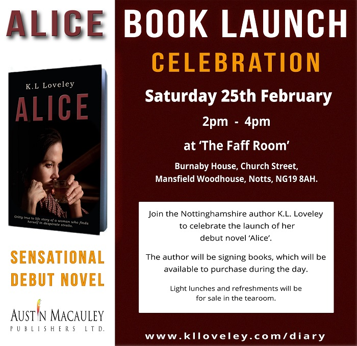 Book launch event advert Alice by K.L Loveley
